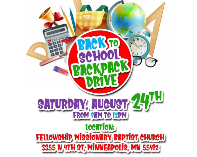 Back To School Backpack Drive Fellowship Missionary Baptist Church, Minneapolis MN